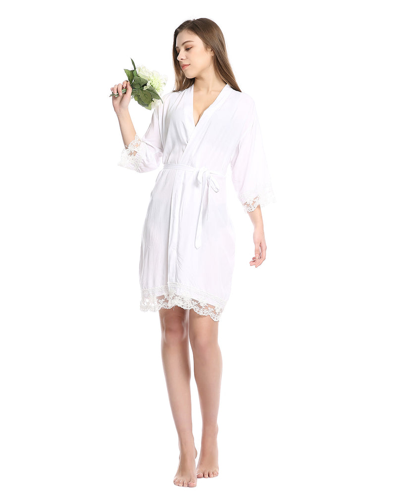 Women Satin Gown Wedding Kimono Sleepwear - Coendy