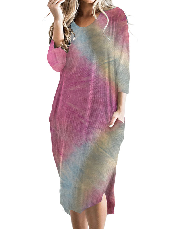 Women Casual Tie Dye Midi Dress Oversized with Pockets