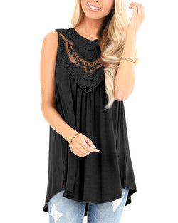 Womens Sleeveless Solid Lace Crochet Tank Summer Flowy