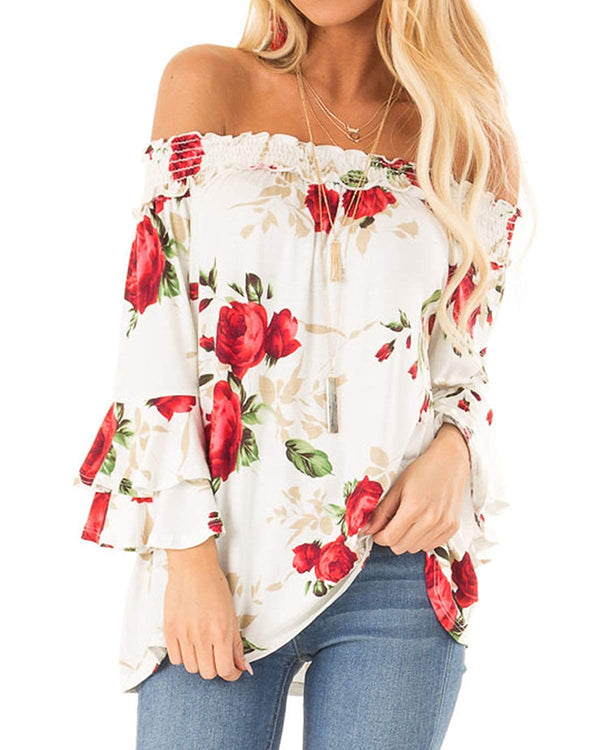 Women Bell Sleeve Tops Ruffle Floral Loose Sexy Blouse - Coendy