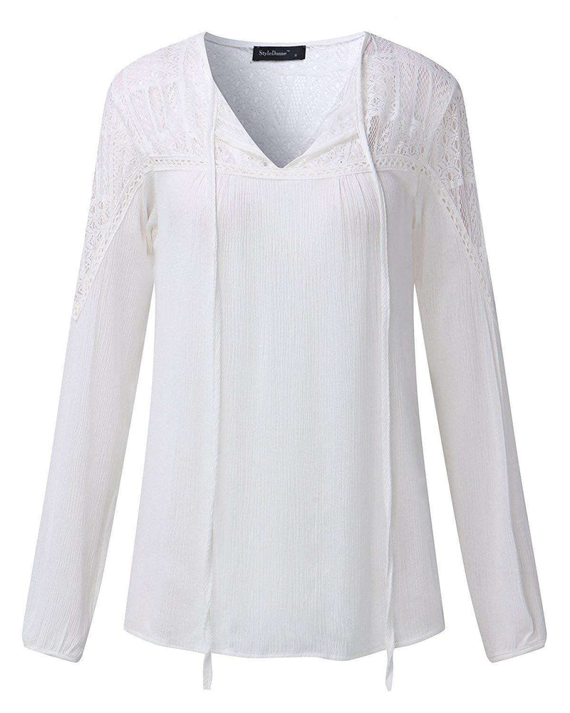 Women Lace Crochet Shirts Sexy Elegant Blouses - Coendy