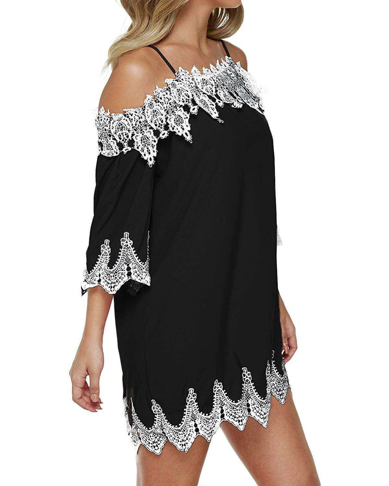 Women Off Shoulder 3/4 Sleeve Tunic Shirt Blouse - Coendy