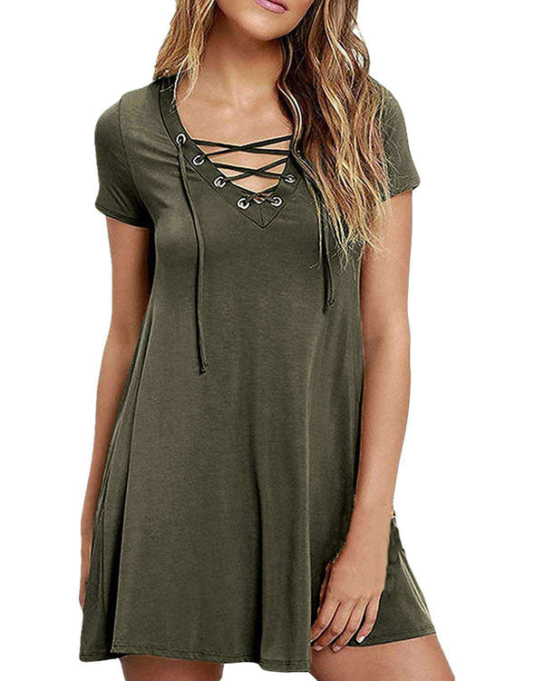 Women Lace Up Solid Swing Mini Dress - Coendy