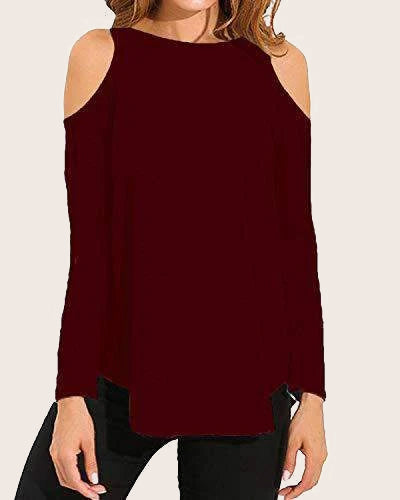 Women Cold Shoulder Casual Swing T-Shirt - Coendy