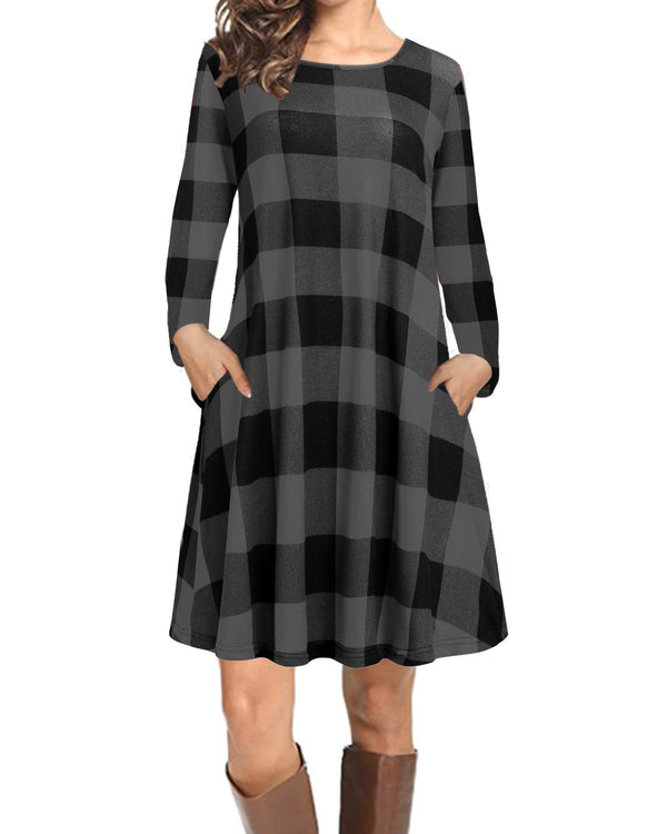 T-Shirt Plaid Mini Dress for Women Loose Long Sleeves with Pockets