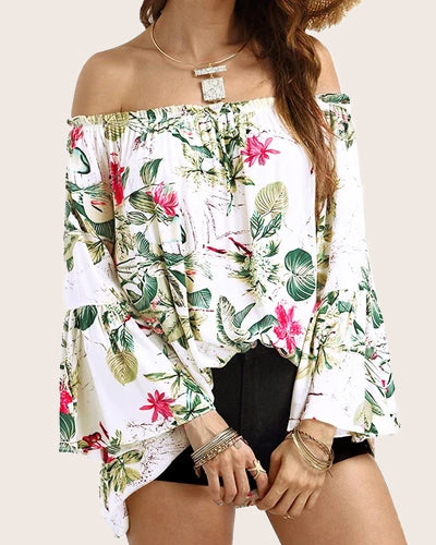 Women Tops Off Shoulder  Bell Sleeve Ruffle Sexy Blouses - Coendy