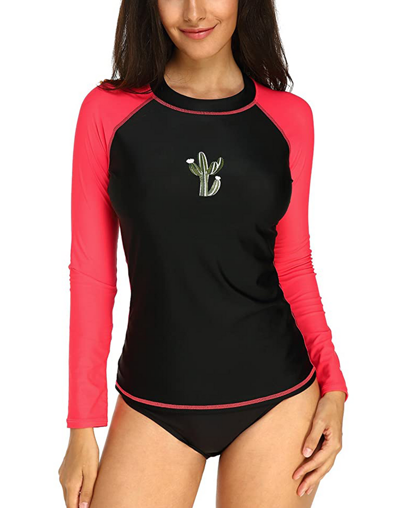 Women Colour Block Rash Guard UV Swimwear Sportswear UPF 50+ - Coendy