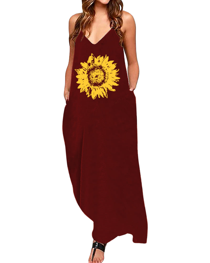 Maxi Dress for Women Sexy Graphic V Neck Spaghetti Strap with Pockets Casual