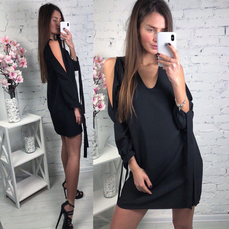 Women Cold Shoulder Solid Mini Dress Casual Long Sleeves V Neck Loose