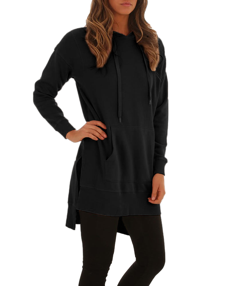 Long Sleeve Lightweight Pullover Hoodie for Women with Kanga Pocket