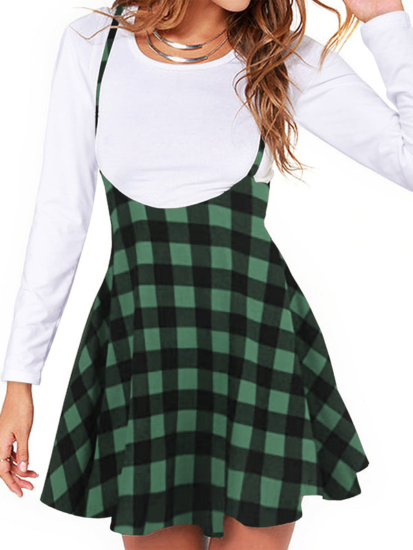 Spaghetti Strap Plaid Pleated Cute Casual Suspender Skirt