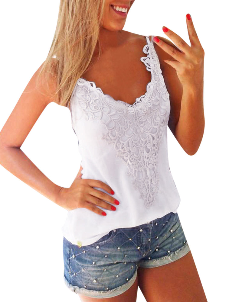 Women's Sexy Summer Casual Sleeveless Lace Stitching Tank Tops
