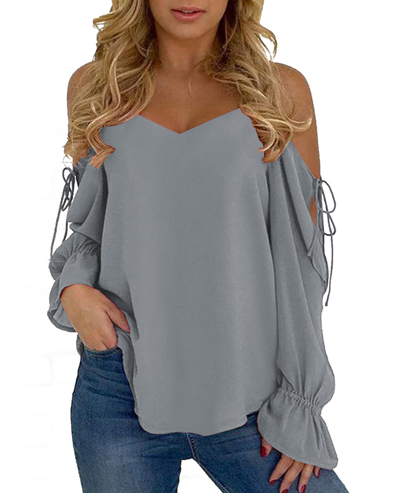 Sexy V Neck Lace-up Chiffon Casual Loose T Shirts