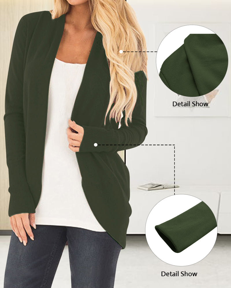 Women Long Sleeve Knit Cardigans Open Front Rounded Hem Basic Sweater Outwear
