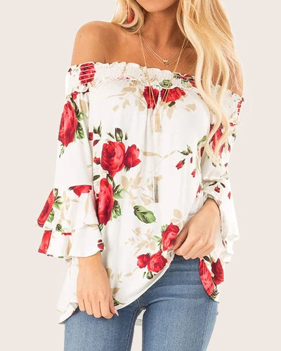 Women Bell Sleeve Tops Ruffle Floral Loose Sexy Blouse Shirt - Coendy