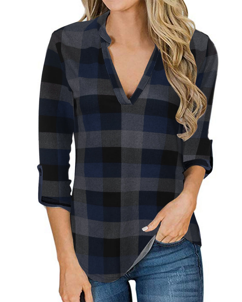 Women Soft Long Sleeves Shirt Plaid
