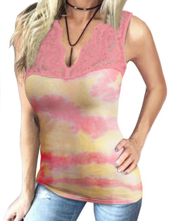 Women Basic Sexy V Neck Sleeveless Slimming Lace Patchwork Tie Dye Tank