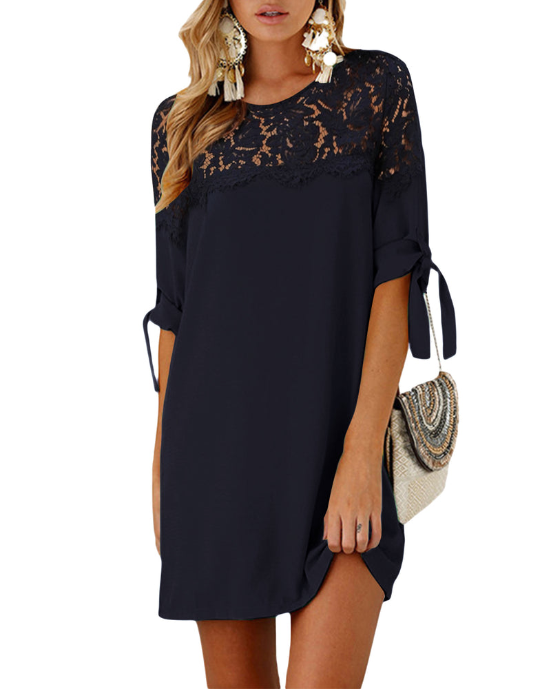Women Half Sleeves Lace Patchwork Elegant Solid Mini Dress