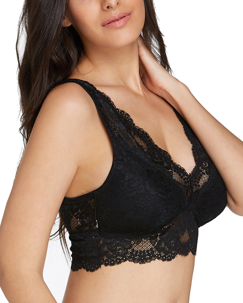 Women Comfort Lace Sexy Wireless Triangle Cup Unlined Bra - Coendy