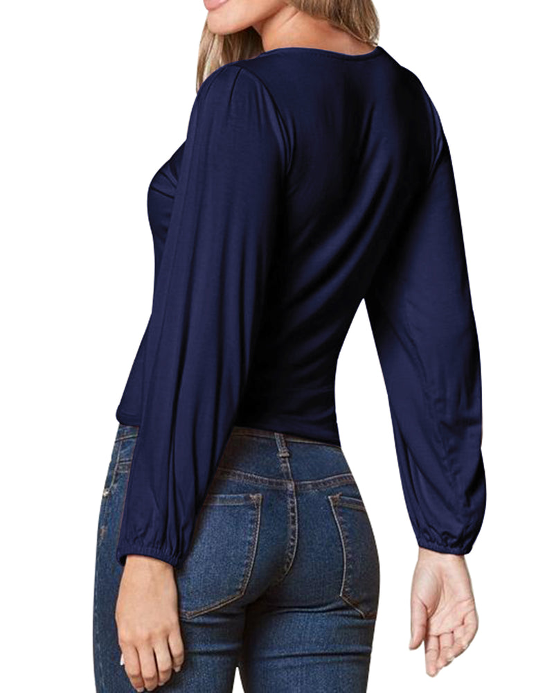 Womens Long Sleeve Loose Casual Solid Blouse