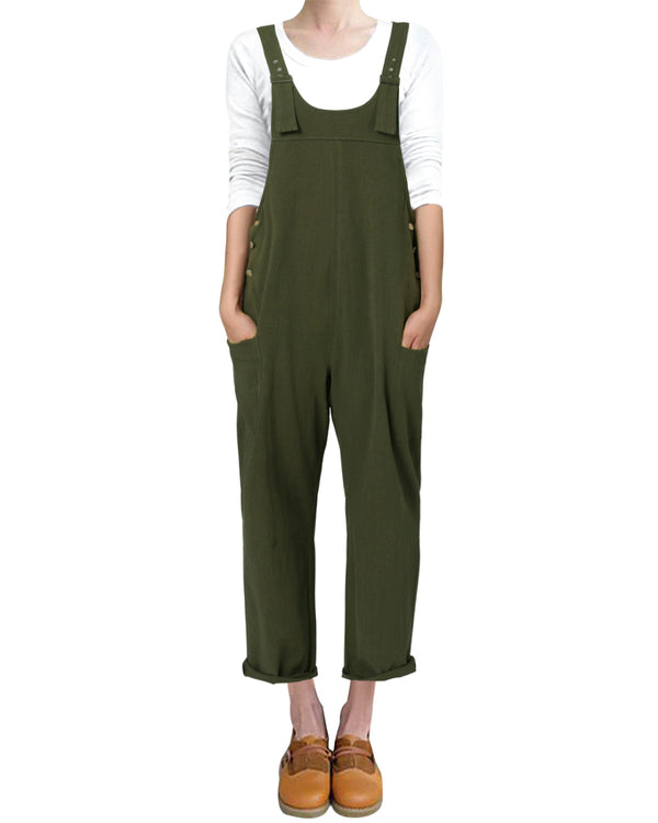 Women's Baggy Overalls Casual Loose Wide Leg with Pockets