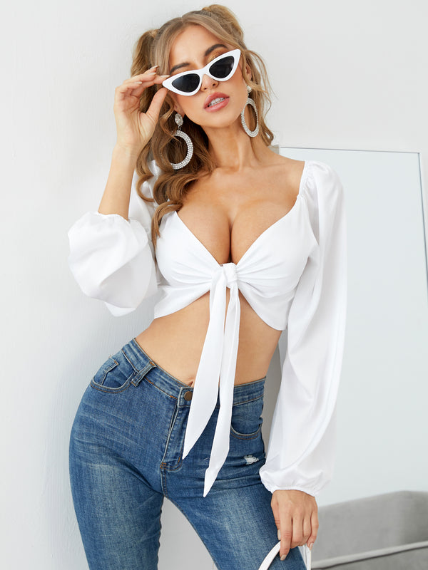 Tie-up Design V-neck Long Sleeves Crop Top Blouse Solid Sexy