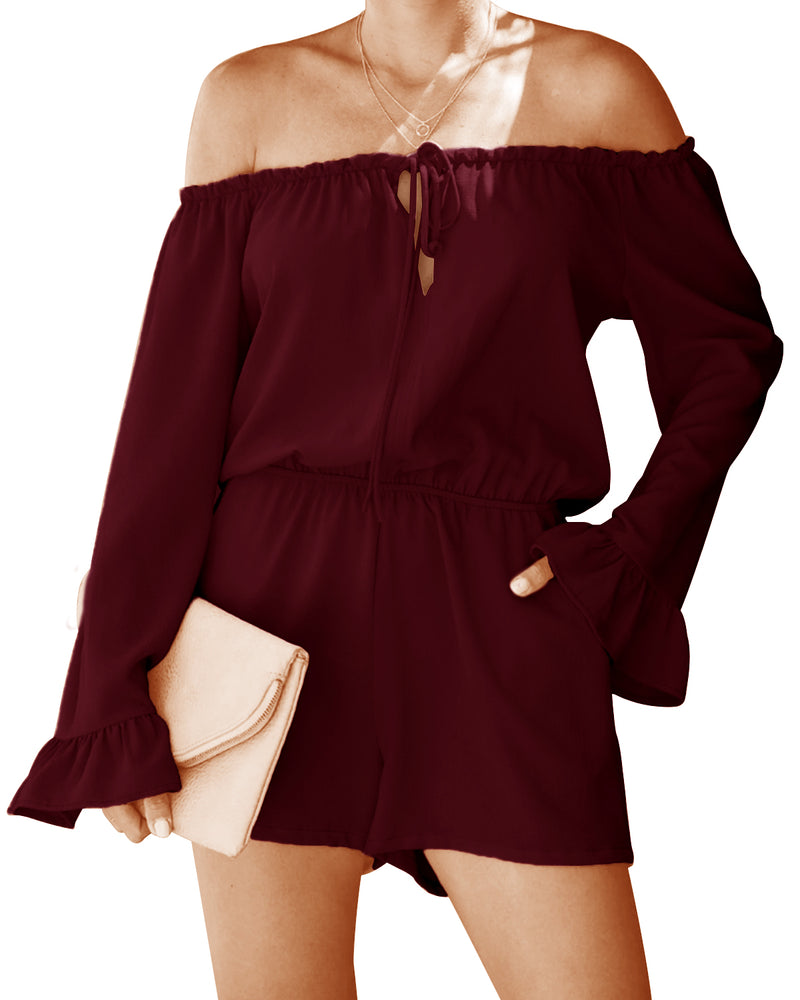 Women Short Sleeve Romper Jumper with Belt - Coendy