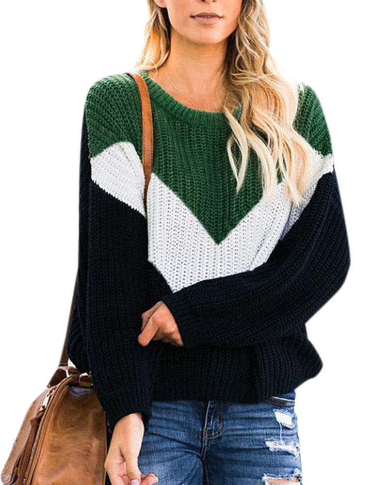 Women's Batwing Sleeve Off Shoulder ColorBlock Knitted Jumper