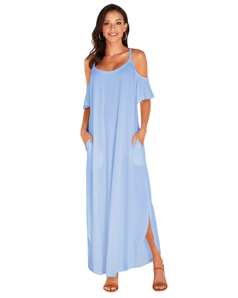 Summer Solid Maxi Dress for Women Casual Cold Shoulder with Pockets