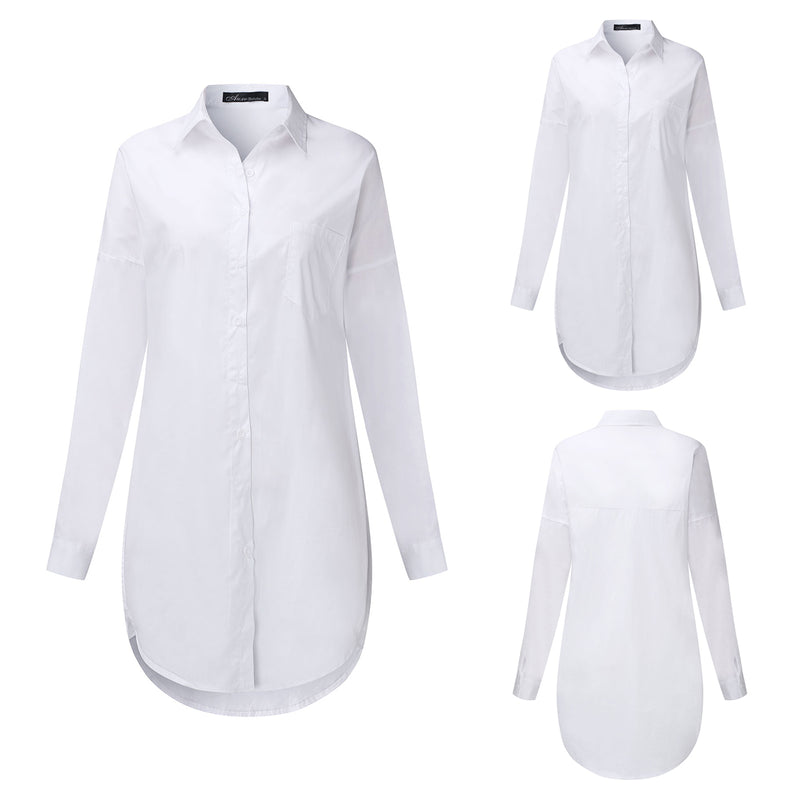 Women Long Sleeve V Neck Pocket Shirt Charade Blouse