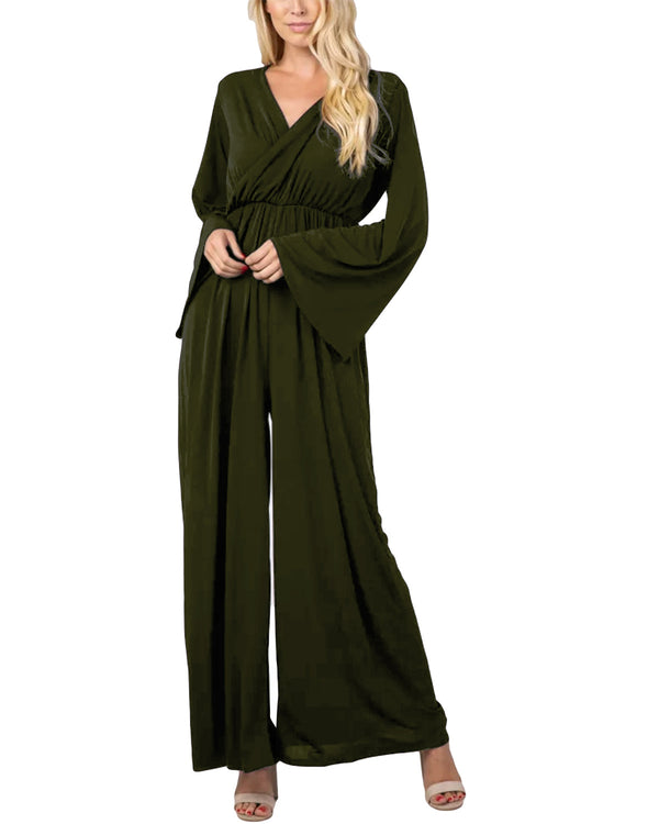 Womens Casual Jumpsuits V NeckLong Pants