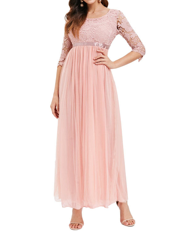 Auxo Women Lace Elegant Cocktail Party Evening Dress Plus Size DRESSES Coendy Pink S