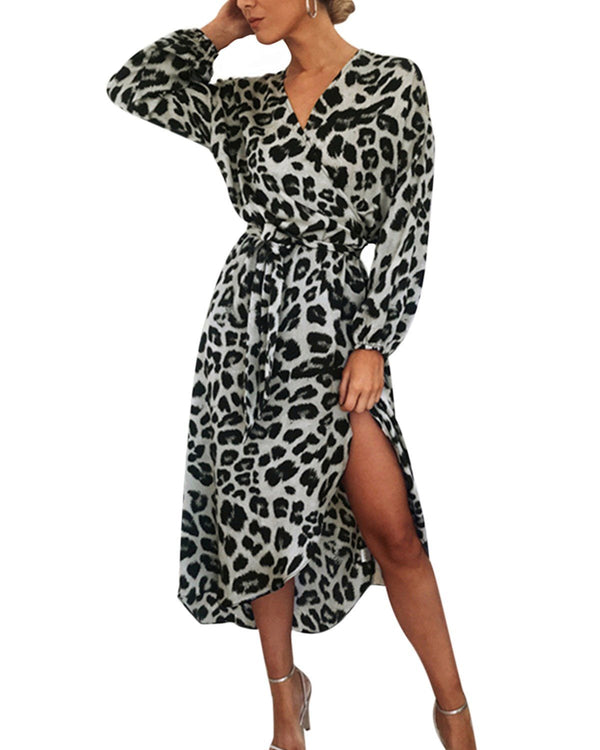 Women Leopard Evening Party Maxi Dress - Coendy