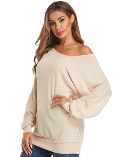 Women Tops Baggy Lantern Casual Solid Color Pullover - Coendy
