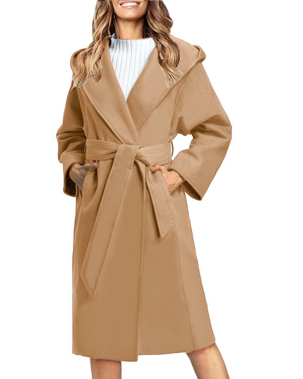 Women Solid Color Trench Coat Lapel Outwear - Coendy