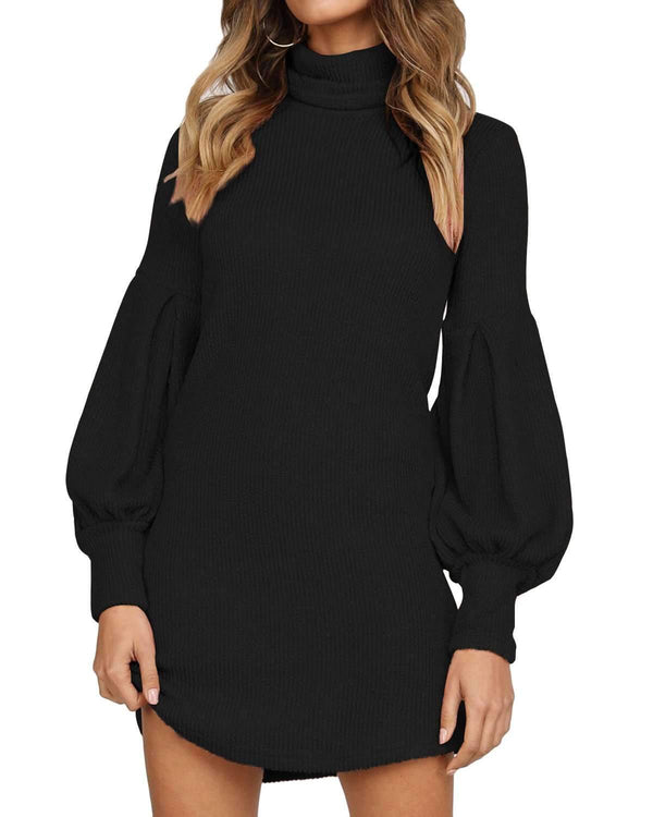 Women Turtleneck Lantern Knit Sweater Dress Plus Size - Coendy