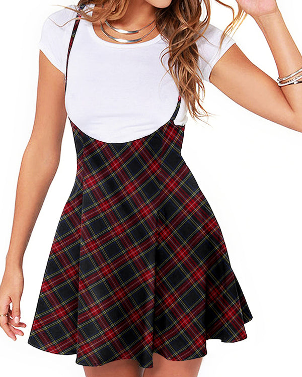 Spaghetti Strap Plaid Pleated Cute Suspender Skirt