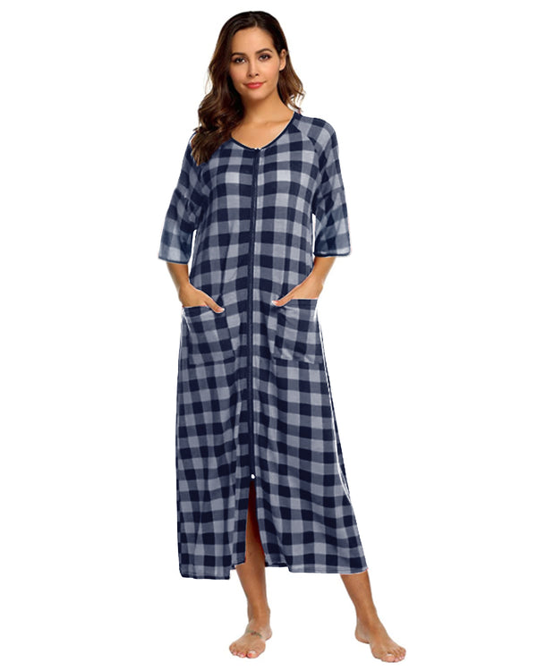 Pajamas for Women Zipper Front Plaid House Robe