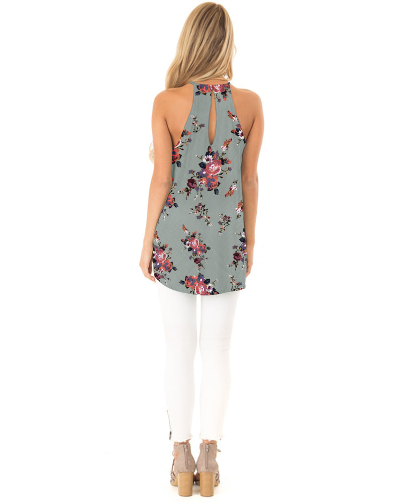 Women Summer Floral Tank Sleeveless Halter Neck Hollow Out Lace Patchwork