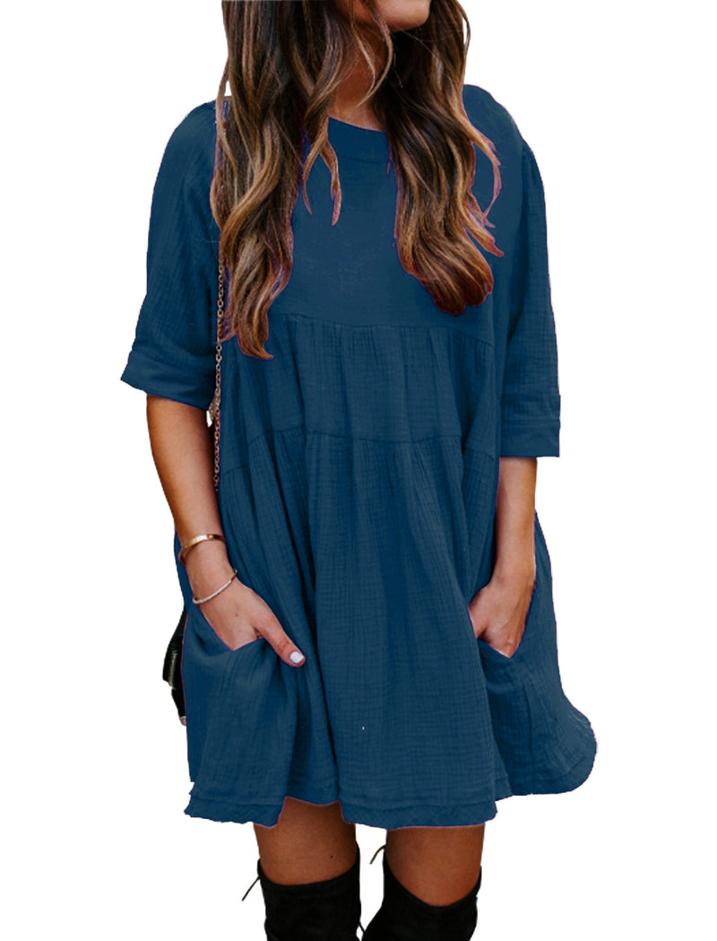 Women 3/4 Sleeves Mini Dress Solid Casual Pleated Loose