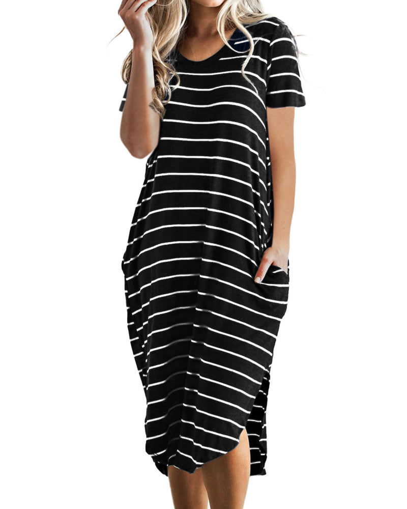 Women Midi Dress Looes Short Sleeves Striped with Pocket Casual