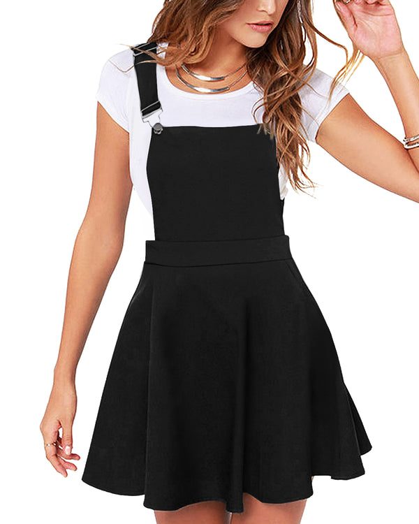 Women Solid Adjustable Strap Suspender Skirt Casual Sleeveless