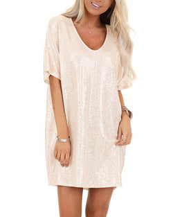 Solid Color Sexy Round Neck  Sparkling Mini Dress for Women