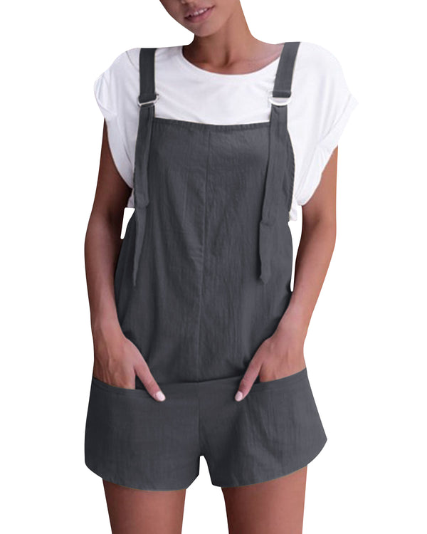 Women's Sleeveless Casual Solid Suspender Overall with Pockets