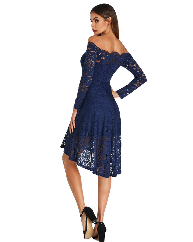 Cocktail Long Sleeve Midi Dress for Women Solid Lace Off The Shoulder