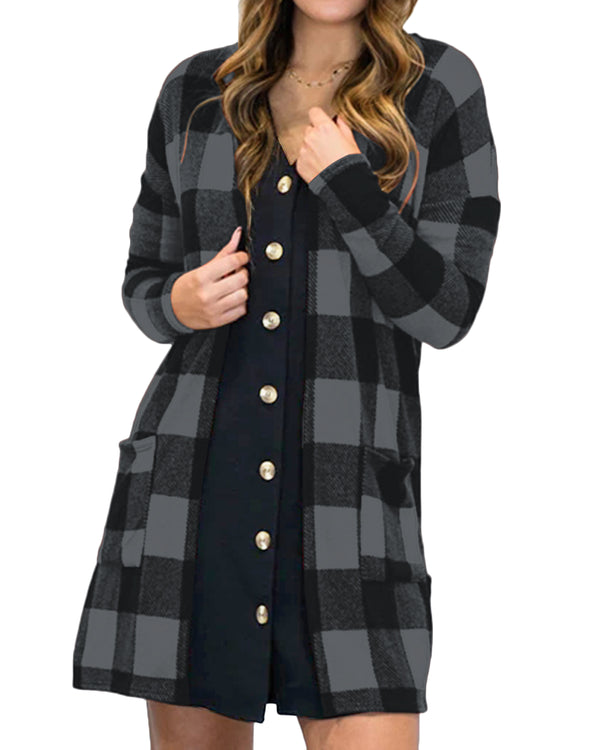 Women's Long Open Front Draped Snap Buffalo Plaid Cardigan