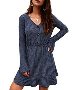 Women Autumn Casual Loose Long Sleeve Dress - Coendy