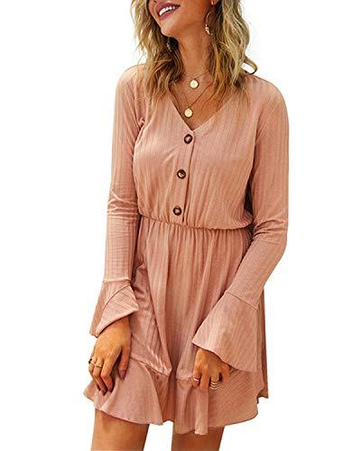 Kenoce Women Autumn Casual Loose Long Sleeve Dress DRESSES Coendy C-pink Small