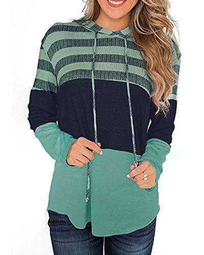 Women Casual Hoodies Striped Pullover Sweatshirts - Coendy
