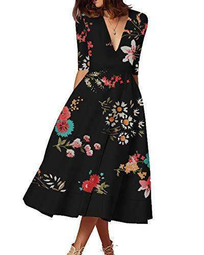 Kenoce Women Floral Print Formal Evening Dress DRESSES Coendy Y-black X-Large
